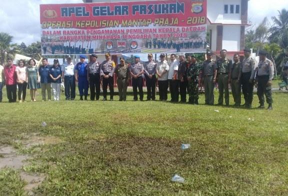 Hadapi Pilkada 2018, Polres Minsel dan TNI Apel Gelar Pasukan