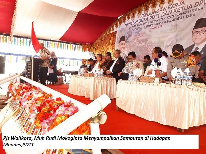 Dampingi Mendes, Pjs Walikota Kotamobagu Tinjau Sejumlah Proyek Padat Karya di Desa Bilalang I