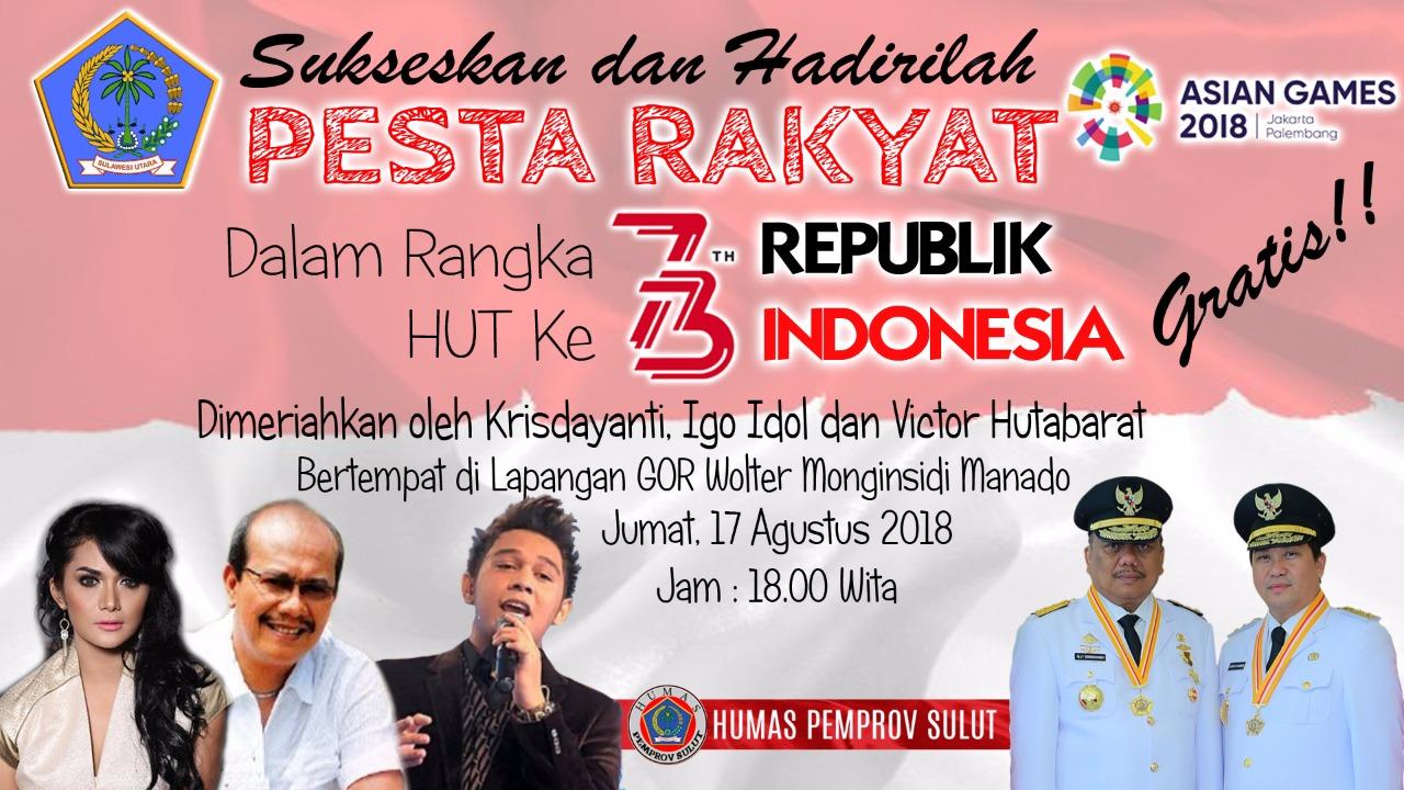 Rangkaian HUT RI ke-73 di Sulut, Krisdayanti Cs Bakal Ramaikan Pesta Rakyat di Lapangan Koni