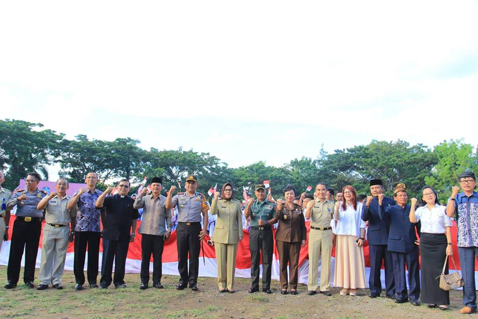 Gelar Deklarasi Semangat Kemerdekaan, Pemkot Kotamobagu Bentangkan Bendera Sepanjang 117