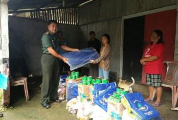 Plh Danramil 1302-08/Kawangkoan Dampingi Tim BPBD, Taggana dan Dinas Sosial Minahasa Tinjau Lokasi Longsor
