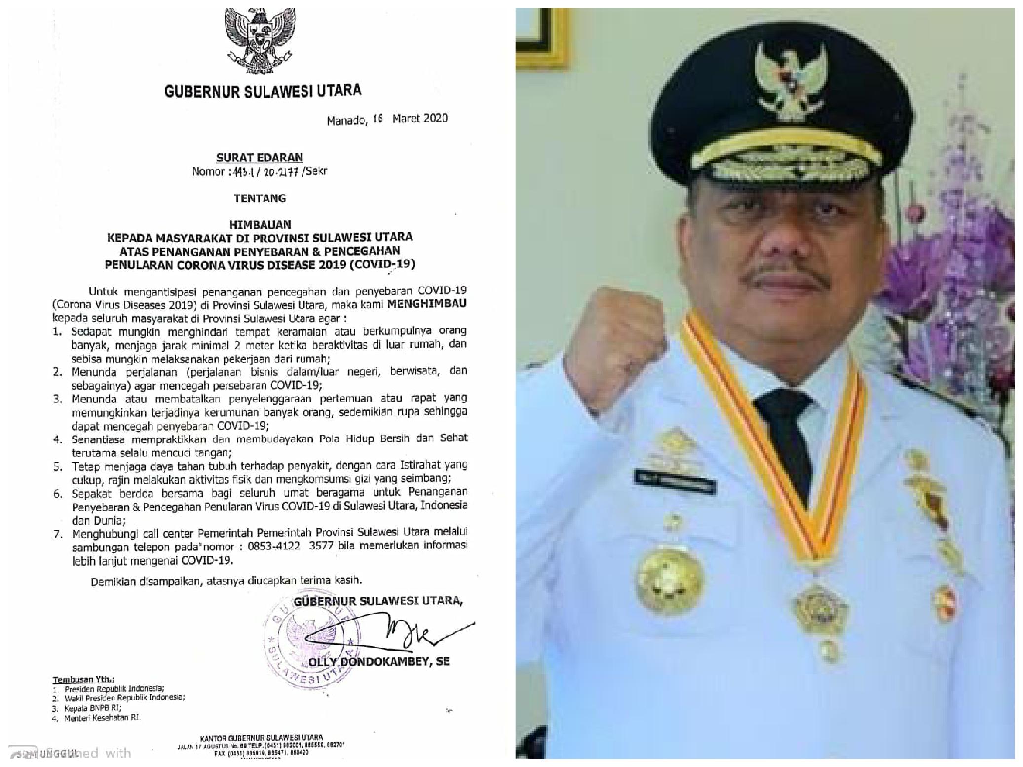 Tangkal Penyebaran Virus Corona di Sulut, Gubernur Olly Terapkan 'Social Distancing'